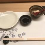 鮨処 さく松 - 最初に用意とピーナツ豆腐!