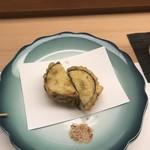鮨処 さく松 - 茄子と海老のはさみ揚げ!