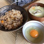 91878411 - 炊き込みご飯,地鶏生たまご,団子汁
