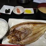 くしろ漁港 釧ちゃん食堂 - 焼きほっけ定食(1尾)1,200円税別