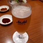 91905359 - コースについてるドリンクサービス                       一杯目は生ビールでしょ。