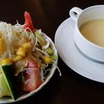 ゆう和 - 「ハンバーグステーキ」サラダ・スープ