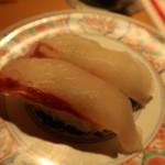 廻鮮寿司 塩釜港 - 天然活平目(塩釜):300円