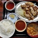 宇宙軒食堂 - とんバラ定食W(肉大盛り)