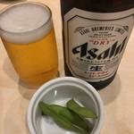 寿司の美登利総本店 - 瓶ビールとお通し 550円