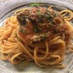 91921040 - 揚げナスとトマトソースのスパゲッティ