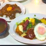 レストランいづみ - Bランチ850円+ライスにカレー乗せ+100円