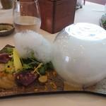 91931807 - 鰹のカルパッチョ 夏野菜のグレッグサラダ 生姜の泡鰹のカルパッチョ 夏野菜のグレッグサラダ 生姜の泡