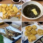黄金屋 - 天ぷら(イカ&レンコン) もずく酢・ししゃも