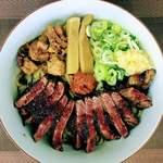 麺屋 又兵衛 - 料理写真:まぜそばちょい辛 トッピングステーキ 1250円 (麺300g) 麺は200gか300g選択可能