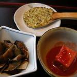91947283 - 焼味噌、ニシンの山椒煮など
