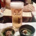 彩食健美 くり田 - 生ビールとお通しです。 向かい座っている同様のY本は、ソフトドリンクを注文。