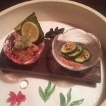 江戸肉割烹 ささや - 晩夏の彩 猪豚の角煮揚げ 蕃茄と胡瓜の肉塩