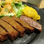 bistro & grill me at park - 赤身肉の牛カツのアップ