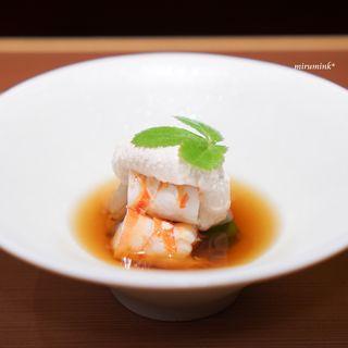 馳走なかむら - 料理写真:白芋茎と車海老、オクラ 白胡麻のクリーム