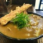極楽うどん Ah-麺 - 竹鶏天カレーうどん   どっぷりとカレーはスパイシー❤️