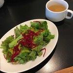 グッドモーニングカフェ - セットのスープとサラダ('18/09/02)