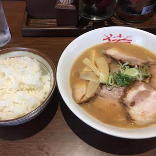 中華そば猪虎 - 料理写真:中華そばチャーシュー入り(小サイズ)&飯(中サイズ)