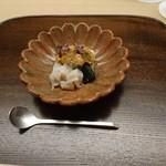 92001428 - ウニ 貝柱酒蒸し 枝豆豆腐 トマトジュレがけ