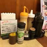 Tonkatsukewaike - H.30.8.9.昼 内観:卓上の調味料類