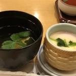 92038412 - お吸い物と茶碗蒸し・・割烹だけあり「茶碗蒸し」はいい味わい。