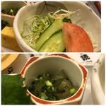 92038655 - 小鉢の中は「おきゅうと」「サラダ」・・おきゅうと(ところてんに似た海藻で酢醤油で頂きます)は好みませんのでパス。