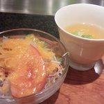 ステーキハウス 大和 - 大人のお子様ランチ サラダとスープ