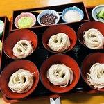 夢乃風 - 夢御膳 餅3種類 ずんだ あんこ 黒胡麻 わんこ蕎麦 とろろ 山菜 紅葉おろしと山葵と葱 香の物