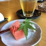 野の庵 - 水菓子と蕎麦もち、蕎麦もちと言うのは野の庵さんオリジナルのようで、砂糖と蕎麦で作っているようです