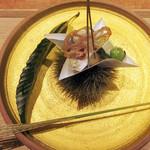 東山 吉寿 - 2品目:月見団子 キスの1夜干 銀杏 黒豆 蓮根煎餅('18.9月上旬の昼)
