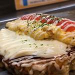 福えびす - ホワイトソース明太オムチーズお好み焼き