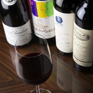 ボトル2900円より100種類以上ヴィンテージワインもご用意