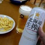 葛の湯 - 秘技!?残った氷グラスにビールを注いだ即席氷点下のビール^^;