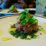 92119604 - 旬魚のタルタルと焼き茄子のマリネ大葉のソース