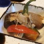 春吉酒亭 一歩 - *「玉ねぎ」「茄子」「ヤングコーン」「かぼちゃ」「ししとう」など。 お野菜に出汁が浸みていて美味しい。
