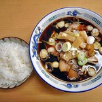 Oshokujidokorokihachi - 料理写真:富山ブラックラーメン(並)& ライス