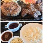 エイトステーキ - 料理写真:4オンスステーキ・ハンバーグセット 1490円