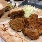 とりかつ チキン - とりかつ+アジフライ定食@650円   美味い!安い!いやぁ助かります!