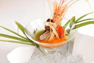 京都 喜Shin - 鱧のムース・赤えびと松茸の炙りブイヤベースゼリーがけ