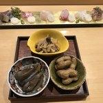 旬菜 おぐら家 - 刺し盛りと旬菜3種