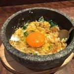 侘家古暦堂 - 石焼きミニ親子丼 混ぜた後からの追加生卵