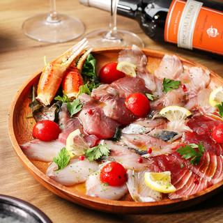 まずは朝獲れ鮮魚のカルパッチョをお召し上がり下さい!