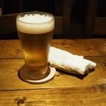 南インド料理 葉菜 - 生ビール500円。