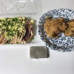 かしわ専門店サトー - 地鶏のタタキ 小=800円 骨なし唐揚げ 2個=347円