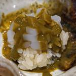 鮨 はしもと - 白烏賊をトッピングしたアワビ肝ご飯