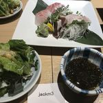 juubeiechigonojizakekakerujukuseibuta - お刺身2点盛りともずく酢