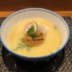 玄海鮨 - 焼雲丹と焼帆立の茶碗蒸し