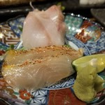 なかめのてっぺん - 刺身(平目/間八/真鯛/銀鱈/銀鱈/*を各2枚ずつ)(130円)×12