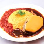 グリル ドミ コスギ&Mart - オムライス チェダーチーズハンバーグ  ドミグラスソース & トマトソース