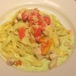 ナポリの下町食堂 - フェットチーネ 秋鮭とサツマイモのバジルクリームソース